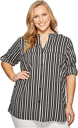 Calvin Klein Plus - Plus Size Printed Roll Sleeve Blouse