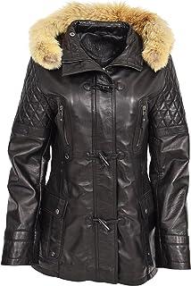 A1 FASHION GOODS Womens Duffle Jacket Black Soft Leather Slim Fit Detachable Hood Parka Coat Amelia