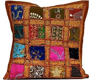 Taie d/'oreiller patchwork en soie Fait à la main Inde Housse de coussin Boho S1