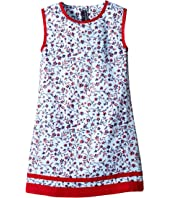Oscar de la Renta Childrenswear - Floral Ikat Cotton A-Line Dress (Toddler/Little Kids/Big Kids)