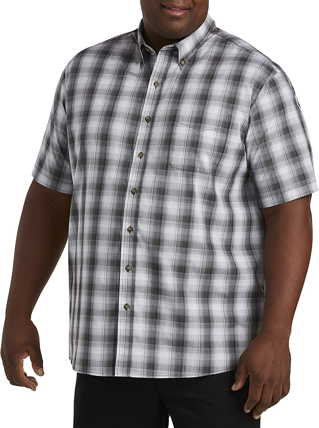 Harbor Bay by DXL Big and Tall Easy-Care Large Plaid Sport Shirt, Smoked Pearl