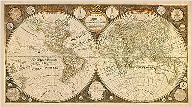 Tavernier Decorative Reproduction Antique Old Colour World Map Color America NEW