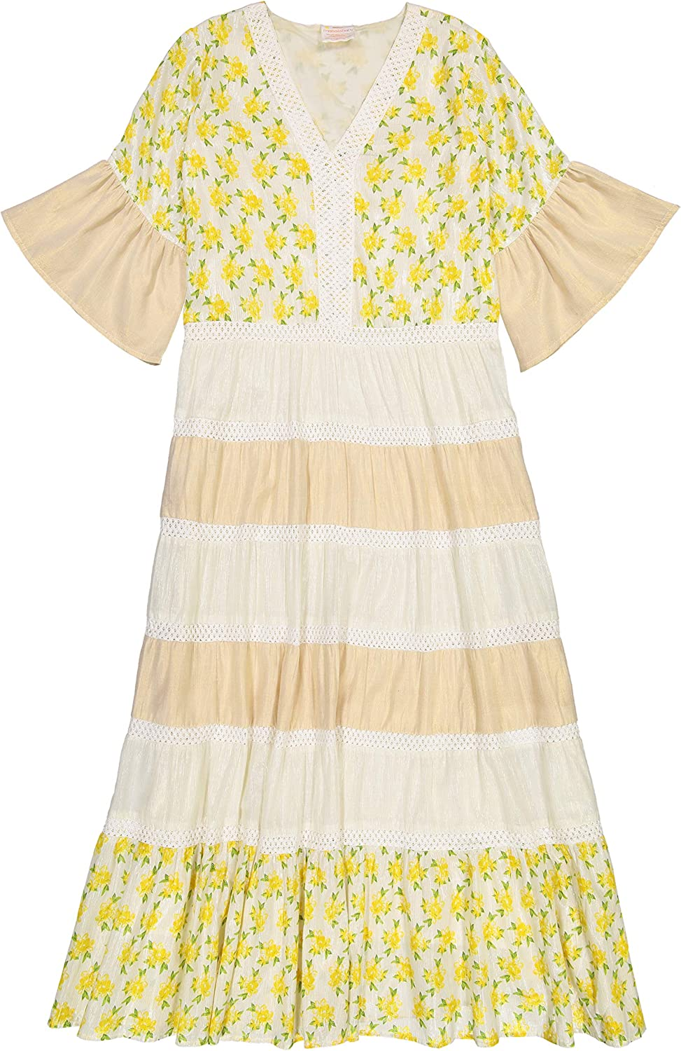 Masala Baby Womens Mara Dress Lemon Blossom Yellow Casual Dress