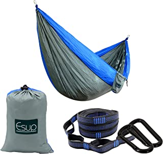 Esup Single & Double Camping Hammock -Lightweight Nylon Portable Hammock, Best Parachute Hammock with Tree Straps for Back...