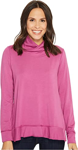 Mod-o-doc Cotton Modal Spandex French Terry Crossover Funnel Neck Long Sleeve Pullover