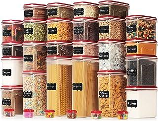LARGEST Set of 60 Pc Airtight Food Storage Containers (30 Container Set) Airtight Plastic Dry Food Space Saver Organizer, ...