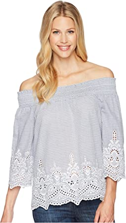 Yarn-Dye Stripe Off Shoulder Top with Embroidered Detail