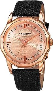 Akribos XXIV Our Products Mens Casual Watch - Sunburst Effect Dial - Japanese Quartz - Leather Strap