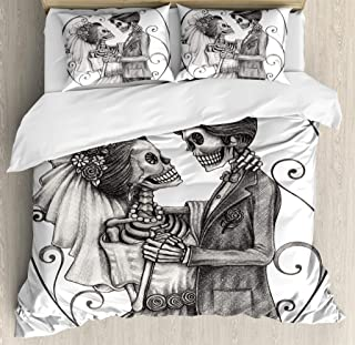 Ambesonne Day of The Dead Duvet Cover Set, Love Skull Skeleton Marriage Eternal Love Theme Spanish Art, Decorative 3 Piece Bedding Set with 2 Pillow Shams, King Size, Dimgrey White