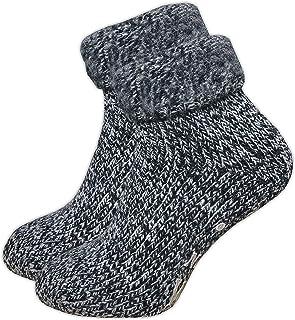 GAWILO Paire de chaussettes pour femme – Chaussettes en ABS – Chaussettes en laine – Sans coutures – Intérieur en éponge d...