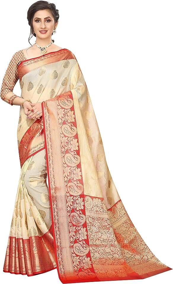 Indian Silk Zone Women's Banarasi Artificial Silk Saree With Unstitched Blouse Saree