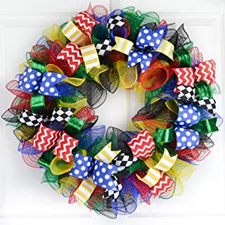 Teacher Appreciation Gifts | Superhero Birthday Party Front Door Mesh Wreath | Red Blue Green Yellow