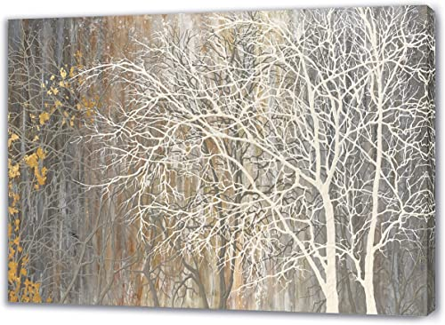 Yihui Arts Autumn Painting On Canvas White Tree Wall Art Large Landscape Falling No Leaves Artwork for Bar Club Decor...