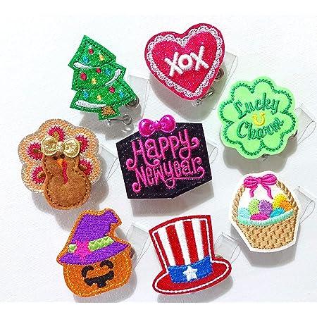 Thanksgiving fall badge reel set pie pumpkin nurse medical badge reel turkey leg badge reel charms custom glitter badge reel felties