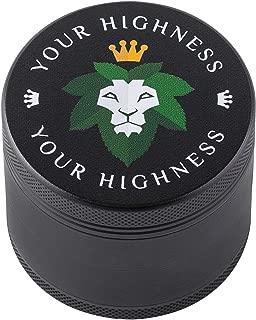 HERB GRINDER, 4-piece grinder, NEW 2019 HIGH QUALITY DESIGN, MATTE GRINDER, Premium Black Silicone Coating, 2.2 inch, grinder, spice, herb, by YourHighness (black)