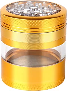 Zip Grinders - Large Herb Grinder - Four Piece with Pollen Catcher - 3.25 Inches Tall - Premium Grade Aluminum (2.5