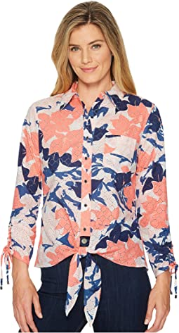 Ivanka Trump - Printed Woven Button Down Tie Front Shirt