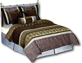Tache Home Fashion South Asian Heavy Weight Comforter Bedding Set, Full, Striped Brown