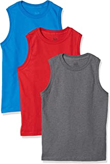 Fruit of the Loom Boys 3P1900B Solid Multi-Color Soft Sleeveless Muscle Shirts, 3 Pack Sleeveless Shirt - Multicolor