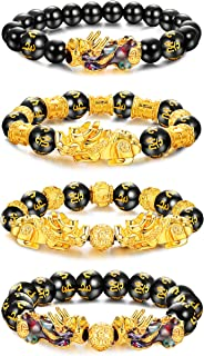 Besteel 4Pcs Feng Shui Pi Xiu Good Luck Bracelets for Men Women Black Obsidian Mantra Bead Attract Wealth Money Bracelet