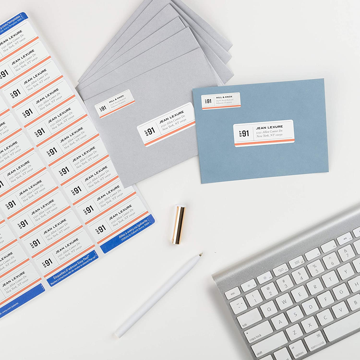 5960 7,500 Labels 1 1 x 2-5//8 ,White Avery Address Labels with Sure Feed for Laser Printers