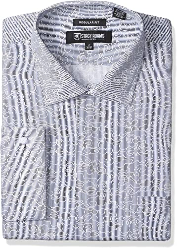 STACY ADAMS Hommes's Big and Tall B & T Floral Sketch On Mini Stripe Classic Fit Robe Shirt, Charcoal, 19  Neck 34-35  Sleeve