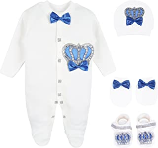 Lilax Baby Boy Newborn Crown Jewels Layette 4 Piece Gift Set 0-3 Months