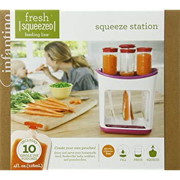 Infantino Squeeze Station - Pouch Filling Station for semi-Solid Food for Babies and Toddlers, Dishwasher Safe and BPA Free for Homemade Baby Food