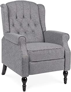 Best Choice Products Tufted Upholstered Wingback Push Back Recliner Armchair for Living Room, Bedroom, Home Theater Seatin...