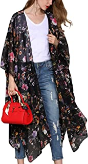 Hibluco Women's Floral Kimono Cardigan Sheer Tops Loose...
