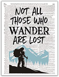 Not All Those Who Wander are Lost, Dictionary Page Wall Art, 8x10, Unframed