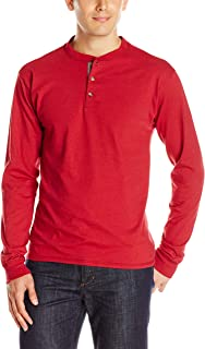 Men's Long-Sleeve Beefy Henley T-Shirt - Large - Burnt Brick
