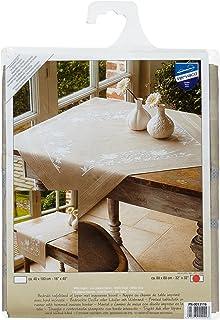 Stickpackung Spannstich Tischläufer weiß WEIßE MARGERITEN mit Garn,vorgedruckt