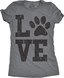 Womens Love Paw Tshirt Cute Adorable Dog Lover Pet Tee for Ladies