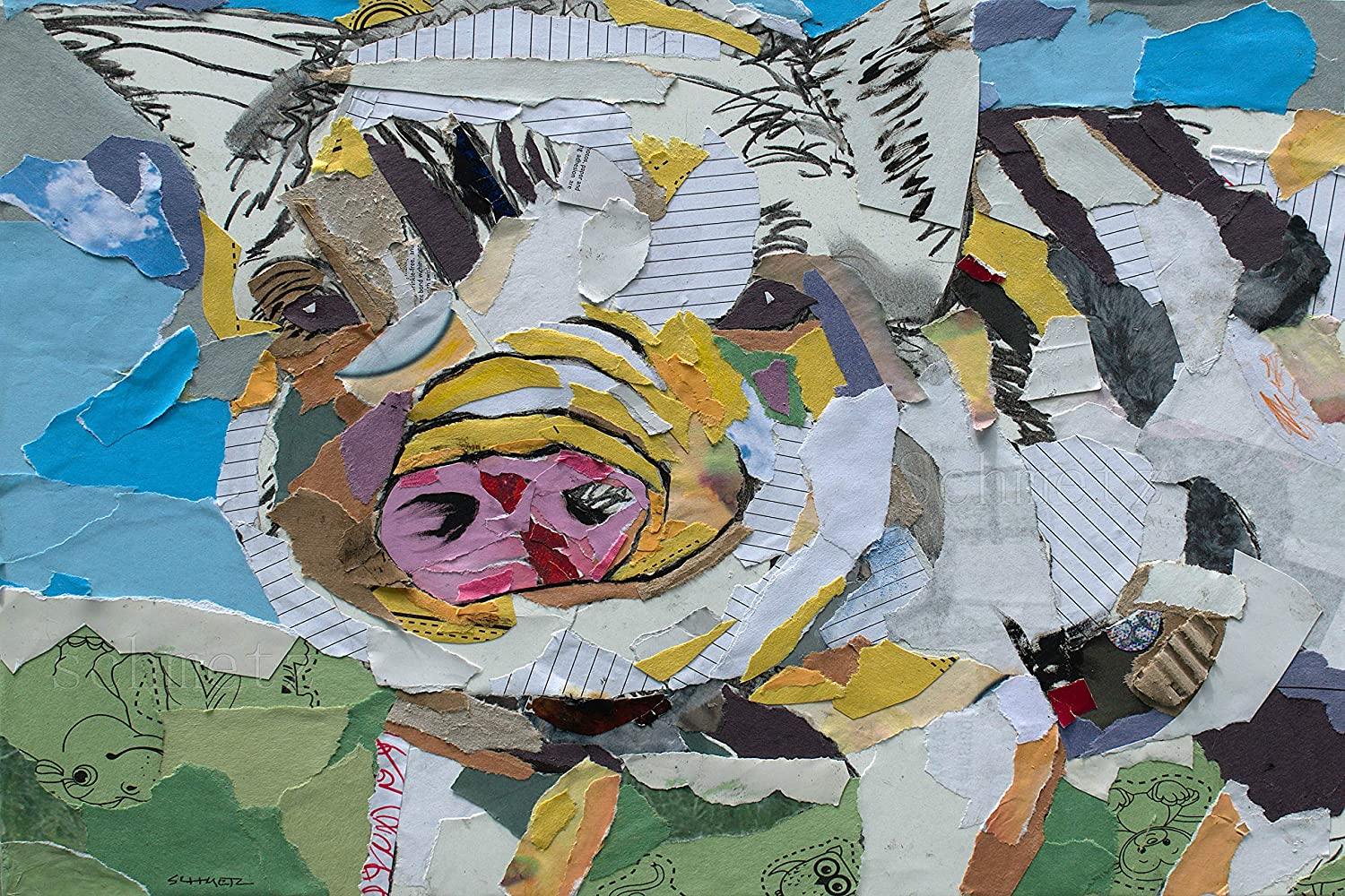 Pig Collage Popular brand stretched 35% OFF print canvas
