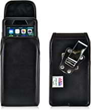 product image for Turtleback Belt Case for iPhone 8 Plus with Otterbox Defender or iPhone 7 Plus with Otterbox Defender Black Vertical Holster Leather Pouch with Heavy Duty Rotating Ratcheting Belt Clip Made in USA