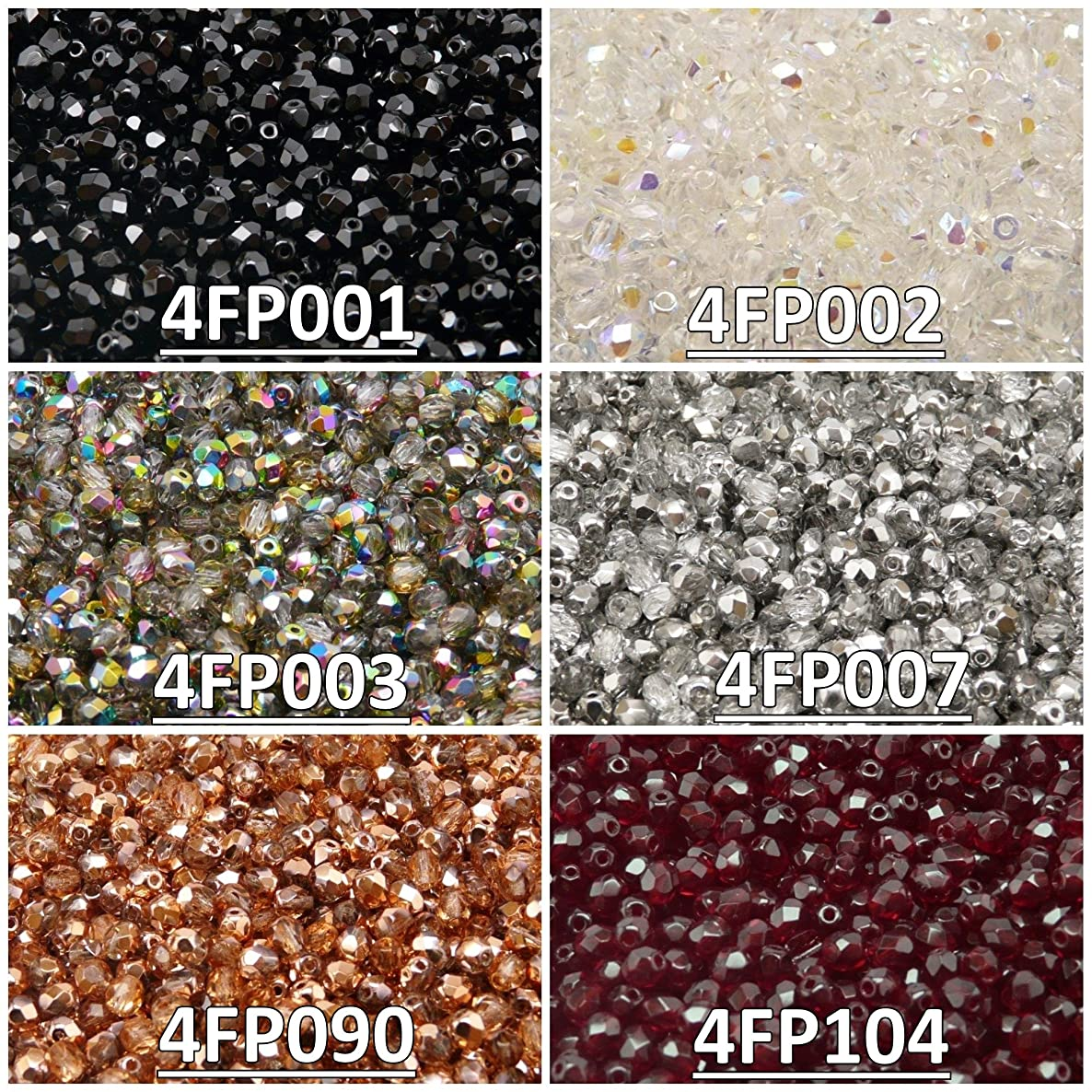 600 Beads 6 Colors Czech Fire-Polished Glass Beads Round 4 mm, Set 431 (4FP001 4FP002 4FP003 4FP007 4FP090 4FP104)