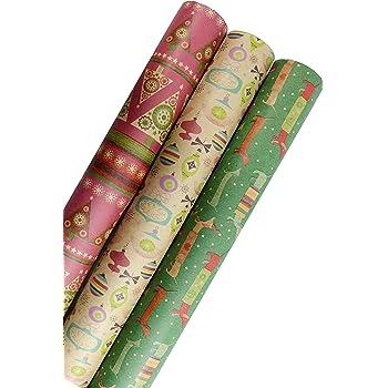 Holiday Retro Printed Kraft Wrapping Paper (Dog Santas-Christmas Space Ornaments-Pink Xmas Trees)