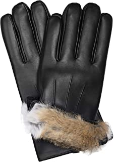 Authentic Sheepskin Leather Winter Gloves for Men with Rabbit Fur Lining + Gift Box