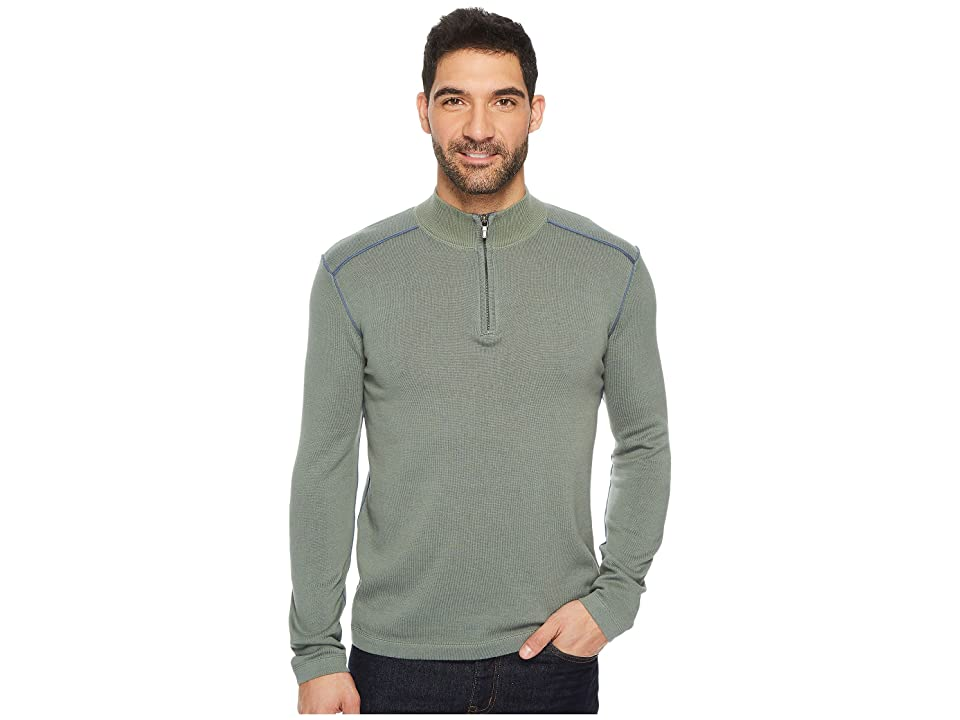Ecoths Noah Zip Neck Sweater (Agave Green) Men
