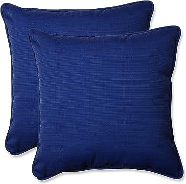 "Pillow Perfect Outdoor/Indoor Veranda Cobalt Throw Pillows, 18.5"" x 18.5"", Blue, 2 Pack"