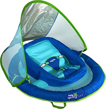 SwimWays Infant Baby Spring Float with Adjustable Sun Canopy - Blue