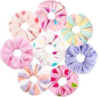 WATINC 8 Pcs TowelScrunchies Colorful Hair Drying Scrunchie Dots Stripe Soft MicrofiberThick Fuzzy Scrunchy Frizz Free H...