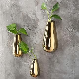 MyGift Modern Metallic Gold-Tone Ceramic Wall-Mounted Flower Vases, Set of 3