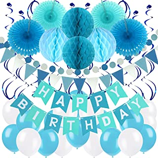 Zerodeco Birthday Party Decoration, Happy Birthday Banner with Paper Fans, Honeycomb Balls, Triangular Pennants, Circle Paper Garland, Hanging Swirls and Balloons - Blue, Sky Blue and White