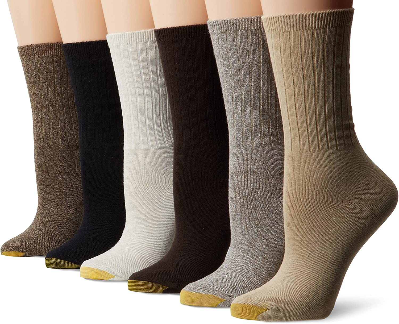 Gold Toe Women's Casual Ribbed Crew Socks, 6-Pairs