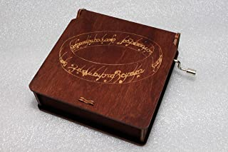 The One Ring - Lord Of The Rings Music Box - The Hobbit LOTR Gandalf - Engraved Wooden Box - Hand Crank Movement