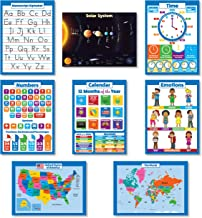 8 Educational Wall Posters For Kids - ABC - Alphabet, Solar System, USA Map, World Map, Numbers 1-100 +, Days of the Week, Months of the Year, Emotions, Time | Preschool Learning Charts (PAPER)