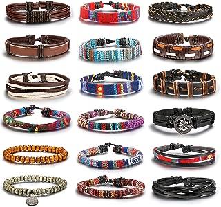 18pcs Friendship Braided Leather Bracelets for Men Women Wood Bead Bracelets Woven Cuff Bracelet Adjustable