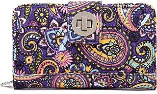 Malirona Women's Canvas Wallet Bohemian Style Purse Clutch Bag Multi Card Case Wallet with Zipper Pocket